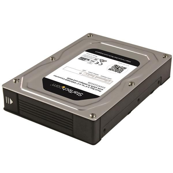 "StarTech.com Dual-Bay 2.5"" to 3.5"" SATA Hard Drive Adapter Enclosure with RAID - Supports SATA III & RAID 0, 1, Spanning, JBOD - Aluminum"