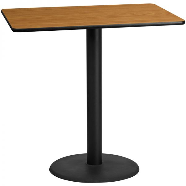 Flash Furniture 30'' x 48'' Rectangular Natural Laminate Table Top with 24'' Round Bar Height Table Base