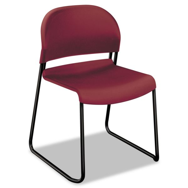 HON GuestStacker Series Chair, Mulberry with Black Finish Legs, 4/Carton