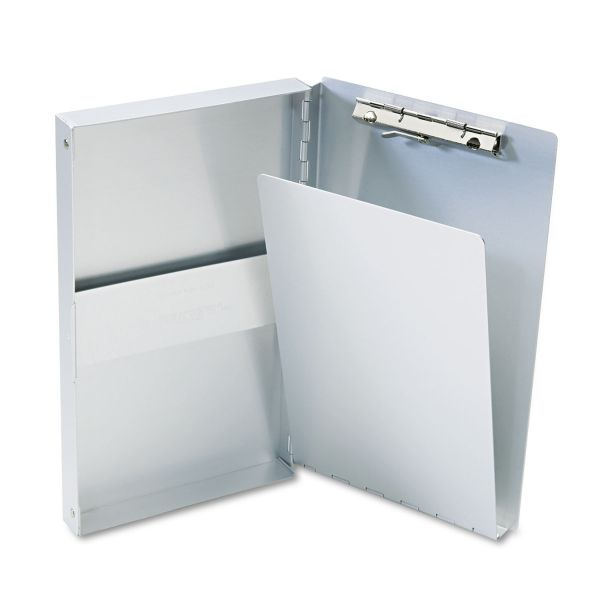 """Saunders Snapak Aluminum Side-Open Forms Folder, 3/8"""" Clip, 5 2/3 x 9 1/2 Sheets, Silver"""