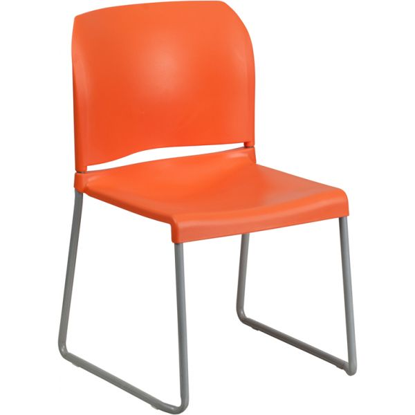 Flash Furniture HERCULES Series 880 lb. Capacity Orange Full Back Contoured Stack Chair with Sled Base,
