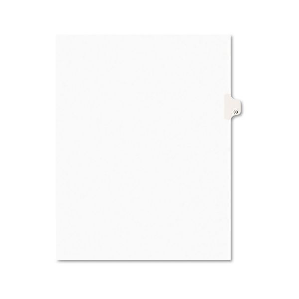 Avery Avery-Style Legal Exhibit Side Tab Divider, Title: 33, Letter, White, 25/Pack