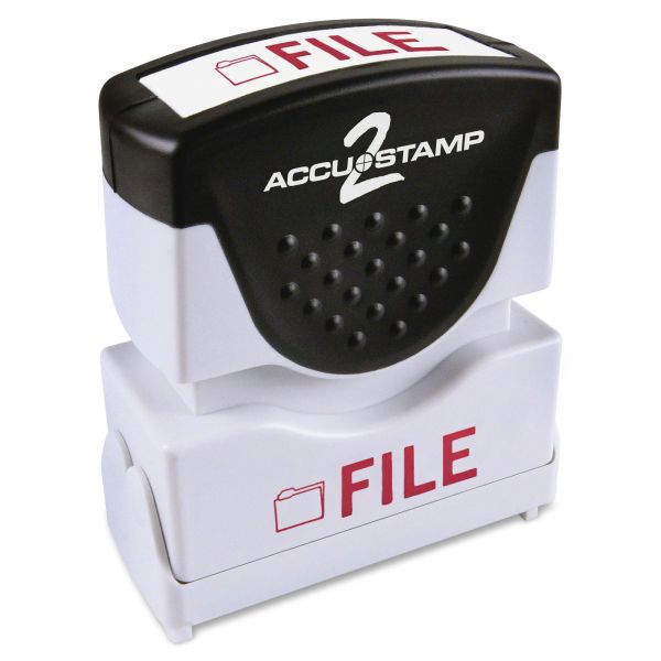 ACCUSTAMP2 Pre-Inked Shutter Stamp with Microban, Red, FILE, 5/8 x 1/2