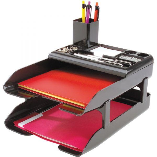 Deflecto Corporate Desk Tray Set, Two-Tier, Plastic, Metallic Black