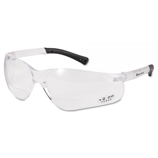 Crews BearKat Magnifier Safety Glasses, Clear Frame, Clear Lens