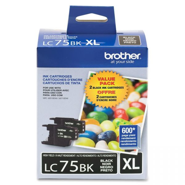 Brother LC75BK Black High Yield Ink Cartridges