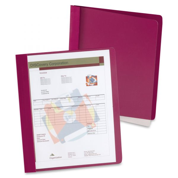 Oxford Extra-Wide Clear Front Report Covers, Letter Size, Red, 25/Box