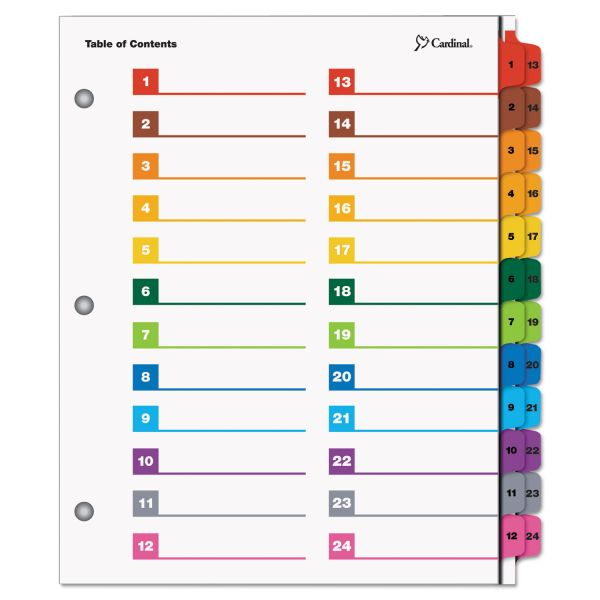 Cardinal OneStep Printable 24-Tab Numbered Dividers With Table Of Contents Page