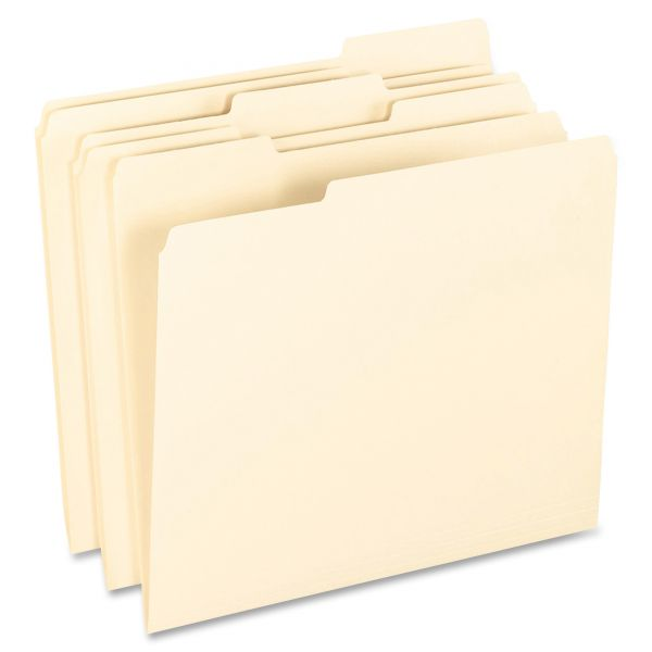 Pendaflex Smart Shield File Folders, 1/3 Cut End Tab, Letter, Manila, 100/Box