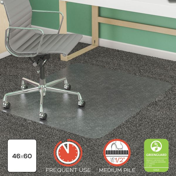 "deflecto SuperMat Frequent Use Chair Mat, Rectangle, 46"" x 60"", Medium Pile, Lip, Clear"