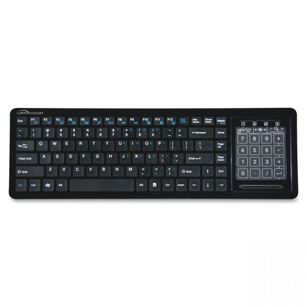 "Compucessory Touchpad Wireless Keyboard, 2.4G, 5-1/8""X16-1/8""X1"", BK"