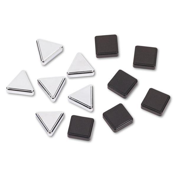 Quartet Metallic Magnets, Magnetic, Black; Silver, 12/Pack