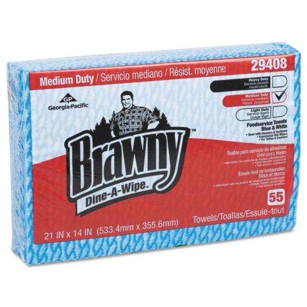 Brawny Brawny Dine-A-Wipe Foodservice Towels, 14 x 21, Blue/White, HYDROKNIT