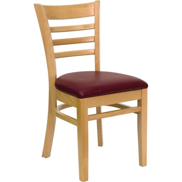 Flash Furniture Ladder Back Wooden Restaurant Chair [XU-DGW0005LAD-NAT-BURV-GG]