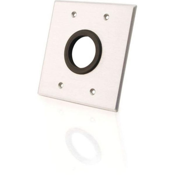 C2G Double Gang 1.5in Grommet Wall Plate - Brushed Aluminum