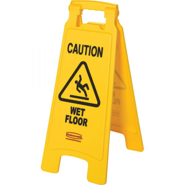"Rubbermaid Double-Sided ""Caution Wet Floor"" Foldable Safety Sign"