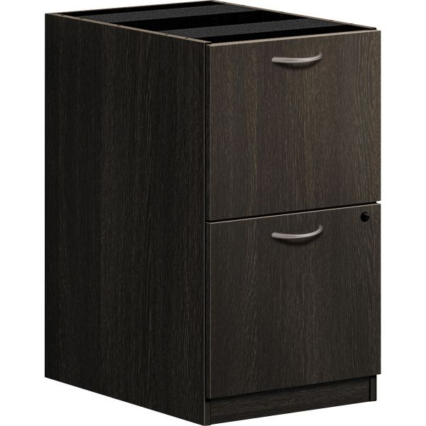 basyx BL Laminate Two Drawer Pedestal File, 15 5/8w x 21 3/4d x 27 3/4h, Espresso