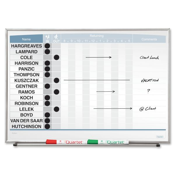 Quartet Horizontal Matrix Employee Tracking Board, 23 x 16, Aluminum Frame