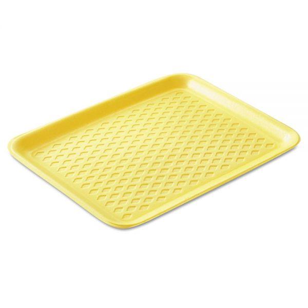 Genpak Supermarket Trays, Foam, Yellow, 10 3/8 x 8 1/4 x 5/8, 125/Bag, 4 Bags/Carton