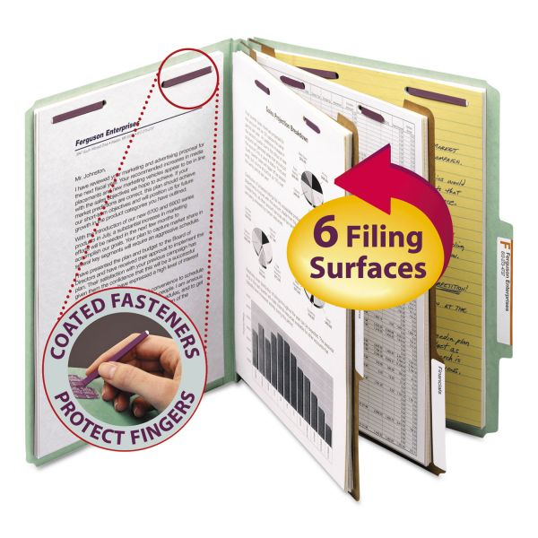 Smead 2-Divider Pressboard Classification Folder with SafeSHIELD Fasteners