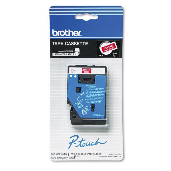 "Brother P-Touch TC Tape Cartridge for P-Touch Labelers, 3/8""w, White on Red"