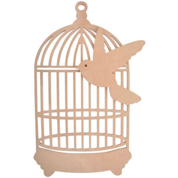 Beyond The Page MDF Traditional Birdcage W/Bird