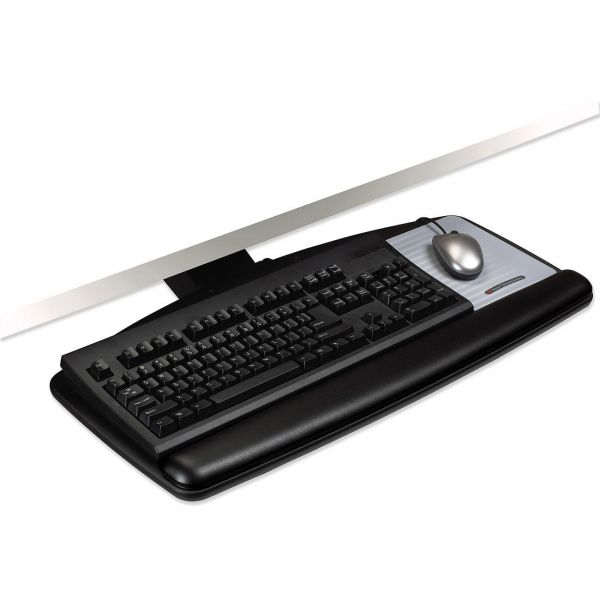 3M Lever Adjust Keyboard Tray with Standard Keyboard and Mouse Platform