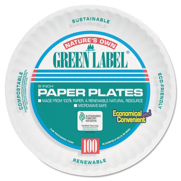 "AJM Packaging Corporation Uncoated 6"" Paper Plates"