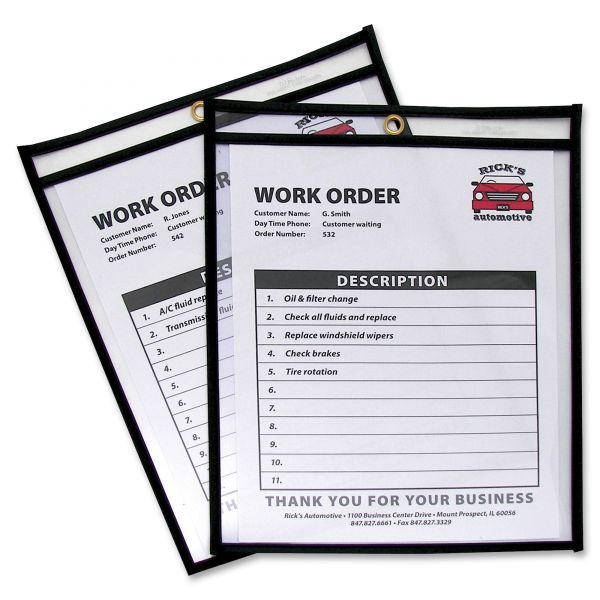 C-Line Shop Ticket Holders, Stitched, Both Sides Clear, 50 Sheets, 8 1/2 x 11, 25/BX