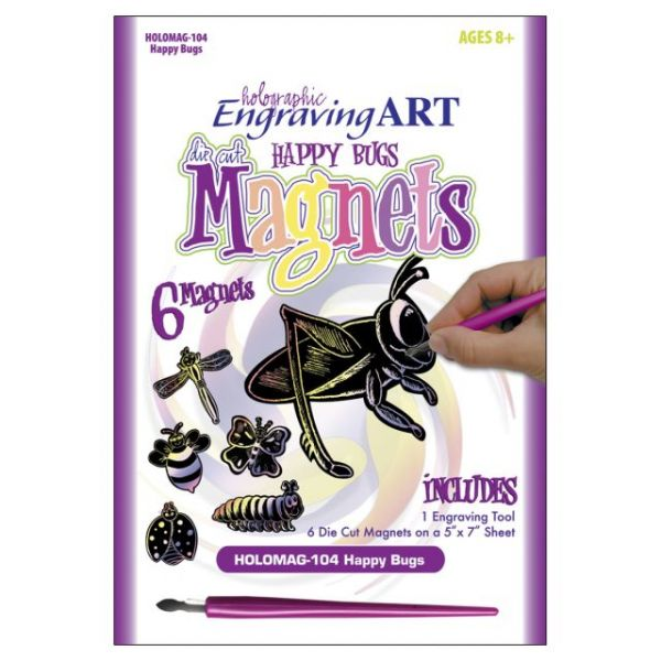 Holographic Engraving Art Happy Bugs Magnets