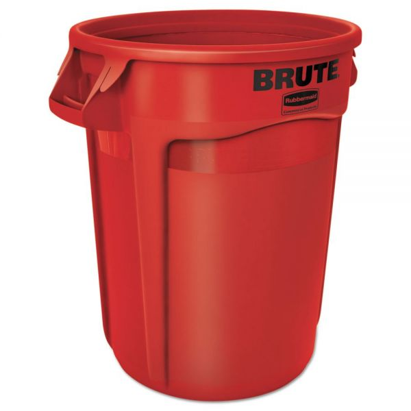 Rubbermaid Commercial Round Brute Container, Plastic, 32 gal, Red