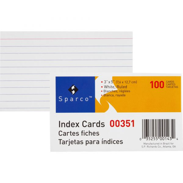"""Sparco 3"""" x 5"""" Ruled Index Cards"""