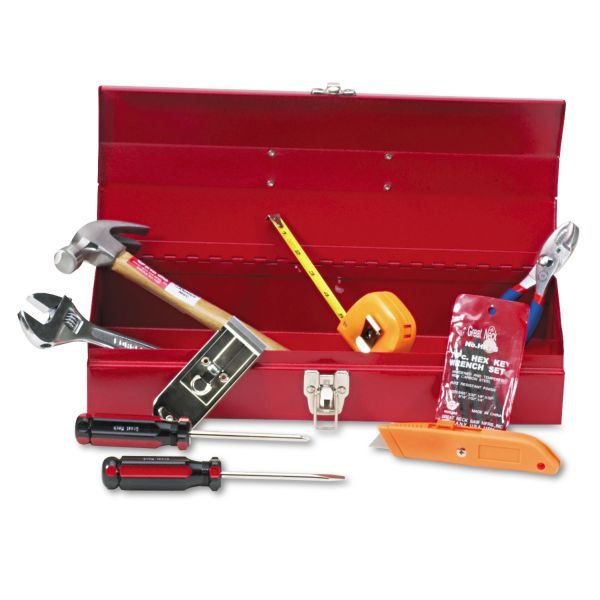 Great Neck 16-Piece Light-Duty Office Tool Kit, Metal Box, Red