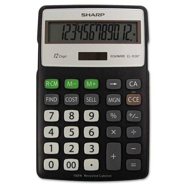 Sharp EL-R287BBK Recycled Series Calculator w/Kickstand, 12-Digit LCD