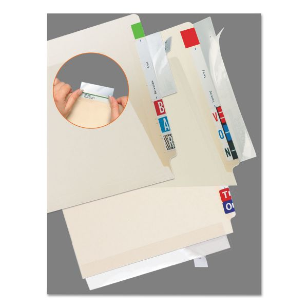 Tabbies Self-Adhesive Label/File Folder Protector, Strip, 2 x 11, Clear, 100/Pack