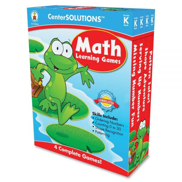 Carson-Dellosa Publishing Math Learning Games, Four Game Boards, 2-4 Players, Grade K