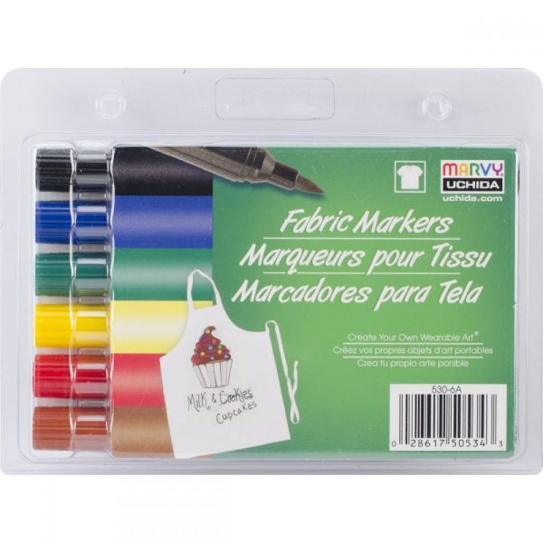 Fabric Markers Brush Tip 6/Pkg