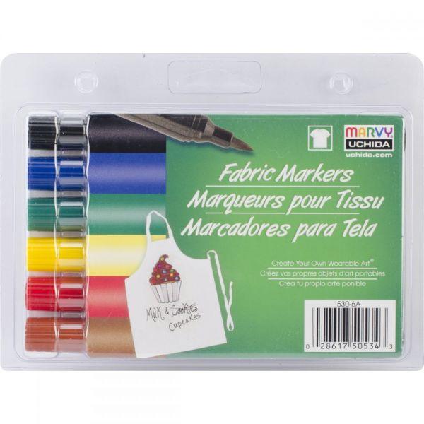 Fabric Markers Brush Tip 6/Pkg