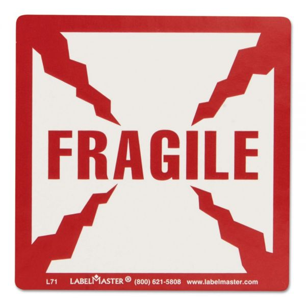 LabelMaster Shipping and Handling Self-Adhesive Label, 5 1/4 x 4 1/2, FRAGILE, 500/Roll