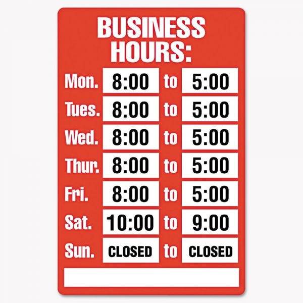 COSCO Business Hours Sign With Vinyl Numbers