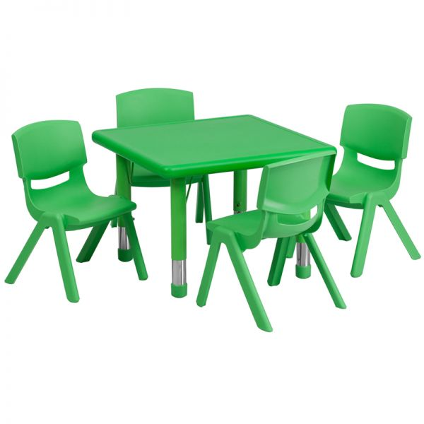 Flash Furniture 24'' Square Adjustable Green Plastic Activity Table Set with 4 School Stack Chairs