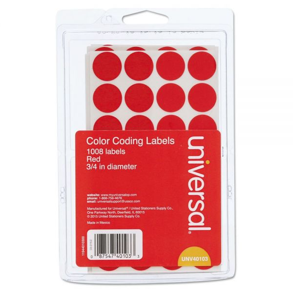 Universal Round Permanent Color Coding Labels
