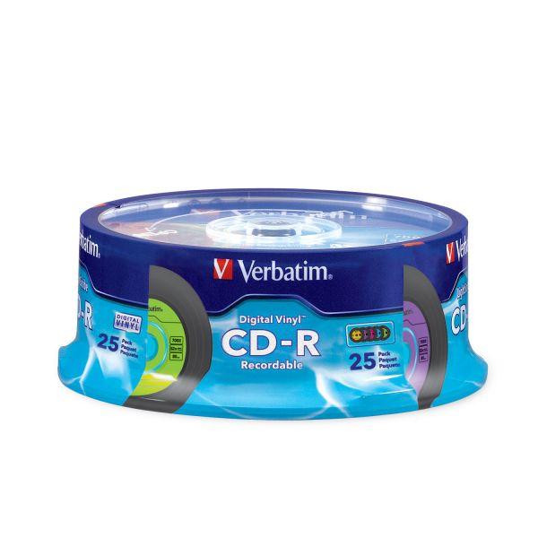 Verbatim CD-R with Digital Vinyl Surface, 80min, 52X, 25/PK Spindle