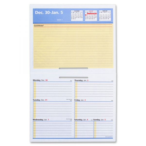 AT-A-GLANCE Flip-A-Week Desk Calendar Refill with QuickNotes, 5 5/8 x 7, White, 2019