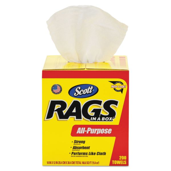 Scott Rags in a Box, POP-UP Box, 10 x 12, White, 200/Box