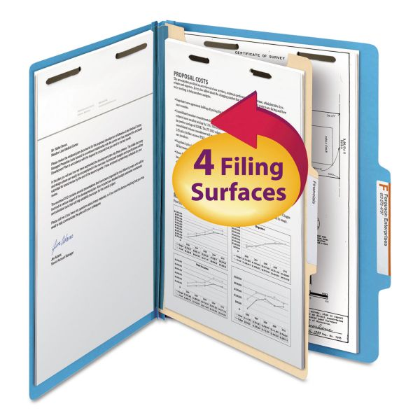 Smead Blue 1-Divider Classification Folders