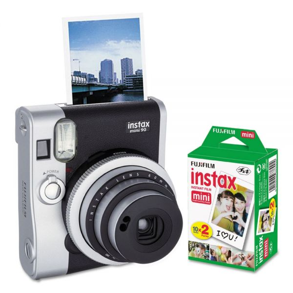 Fujifilm Instax Mini 90 Neo Classic Camera Bundle, Auto Focus, Black