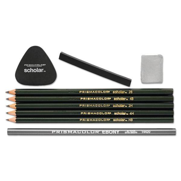 Prismacolor Scholar Erasable Colored Pencil Set, 4B/4H/2B/2H/6B, 9 Assorted Colors/Set