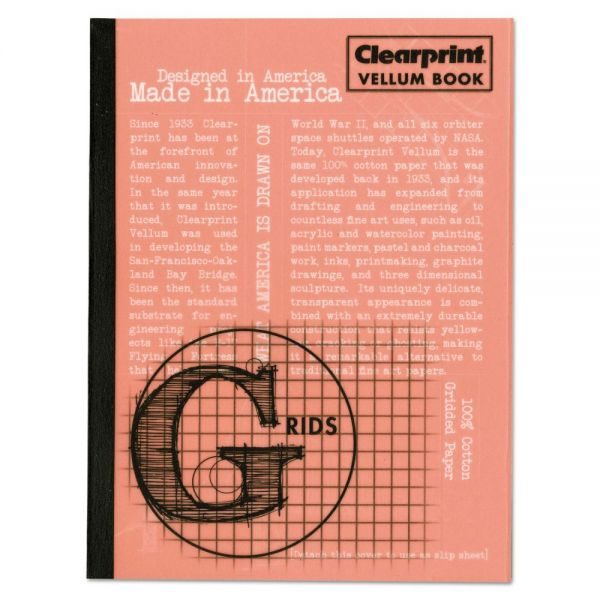 Clearprint Design Vellum Field Book, Grids, 8 x 6, Clear, 50 Sheets