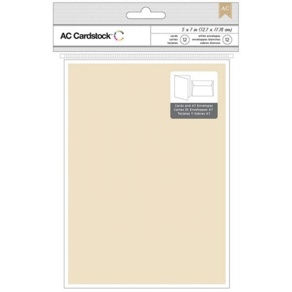 "American Crafts A7 Cards & Envelopes (5.25""X7.25"") 12/Pkg"